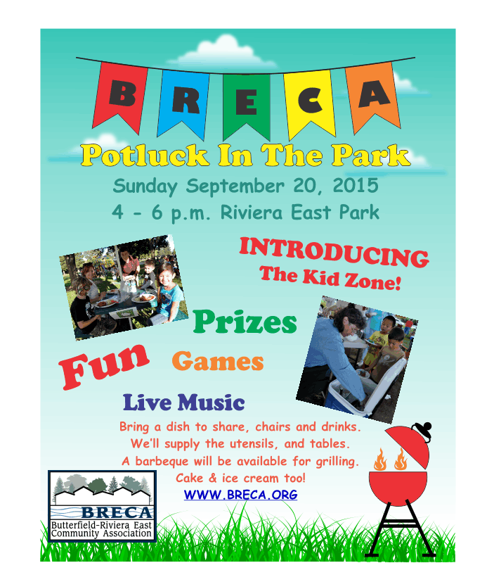 BRECA Potluck In The Park 2015 Flyer